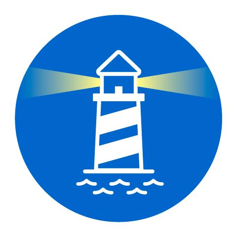 Grafik eines Leuchturms als Icon für den Punkt