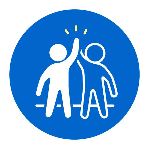 Grafik zweier Personen, die sich ein High Five geben als Icon für den Punkt